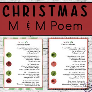 This M and M's Christmas Poem can be printed out, laminated, attached with a lovely ribbon and given as cute Christmas presents for everyone to enjoy!