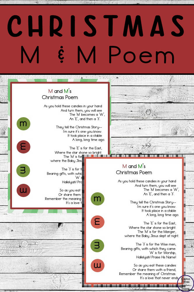 M And M S Christmas Poem Simple Living Creative Learning