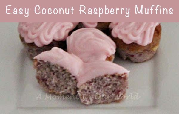 Easy coconut raspberry muffins