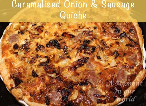 caramalised onion and sausage quiche 1