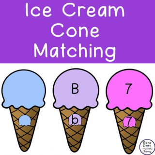 This Ice Cream Cones Matching Pack is great for young children learning their colours, number and letter recognition.