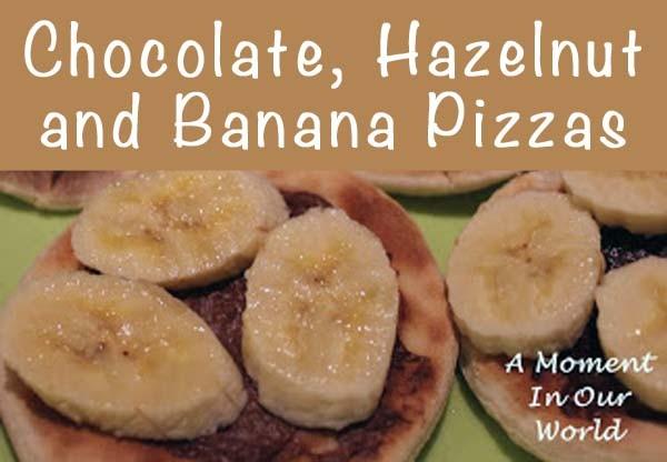 chocolate, hazlenut and banana pizzas