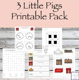 This Three Little Pigs Printable Pack is aimed at children in grades 1 and 2. It includes a variety of activities including learning about fractions, the time, reading comprehension and creative writing.