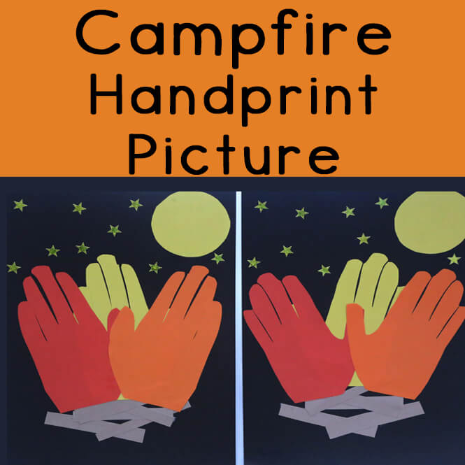 How cool is this campfire handprint picture? Learn how to create your own campfire handprint picture that can be laminated annd used as a poster.