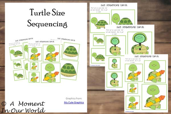 {FREE} Printable Turtle Size Sequencing