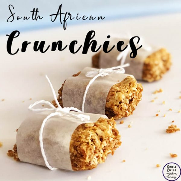 These South African Crunchies are a lovely, crunchy treat with a cuppa for morning or afternoon tea or with a bowl of ice cream for dessert.
