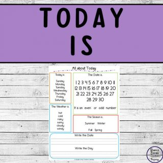 This freebie is a simple one page activity to help children learn about Today. It includes the day, the weather, the season and more.