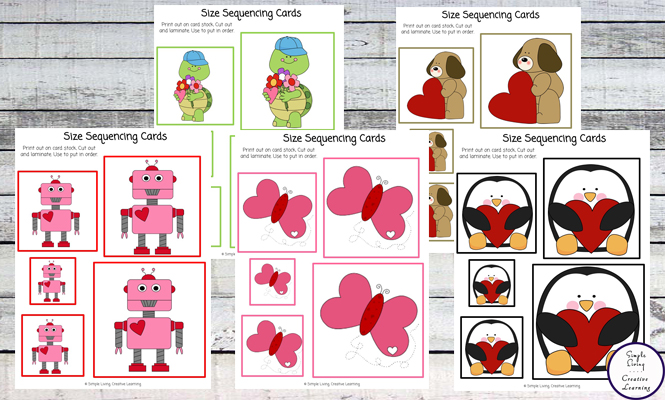 With Valentine's Day not far away, these cute Valentine Size Sequencing Cards are a great way for children to practice their size sequencing.