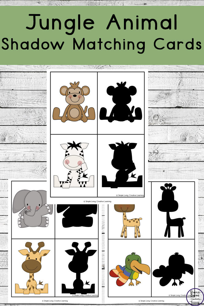 photograph about Animal Cards Printable named Printable Jungle Animal Shadow Matching Playing cards - Uncomplicated
