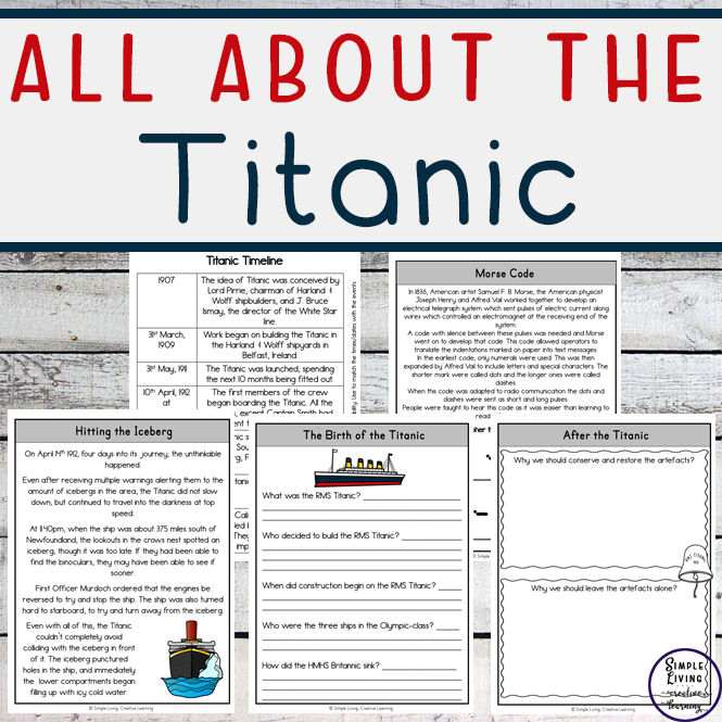 Learn all about the Titanic diaster with these unit study and printables, aimed at children of muliple ages.