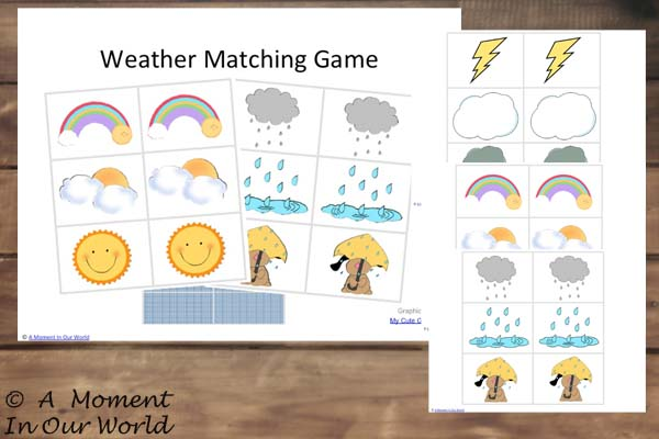 {FREE} Printable Weather Game Matching Cards