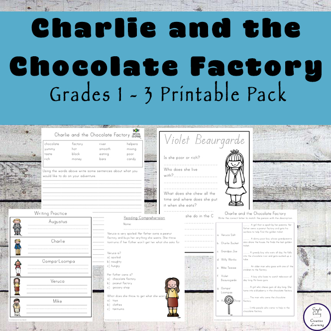 This 100+ page Charlie and the Chocolate Factory contains a variety of literacy and math related activities for kids in grades 1 - 3.