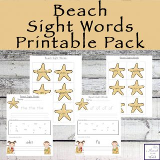 Beach Sight Words Printable Pack