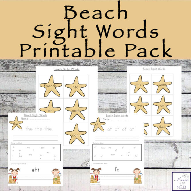 Beach Sight Words Printable Pack