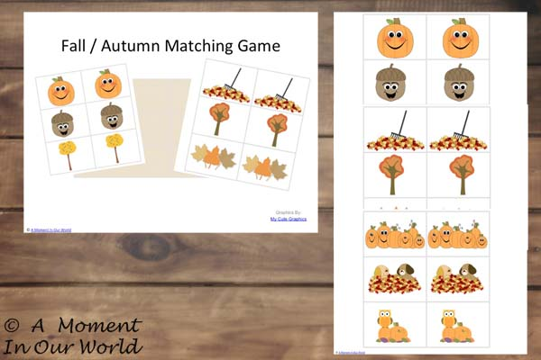 Fall Matching Cards