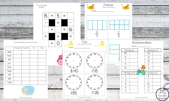 This Farm Printable Pack contains a variety of math and literacy activities for children in grades one through three.