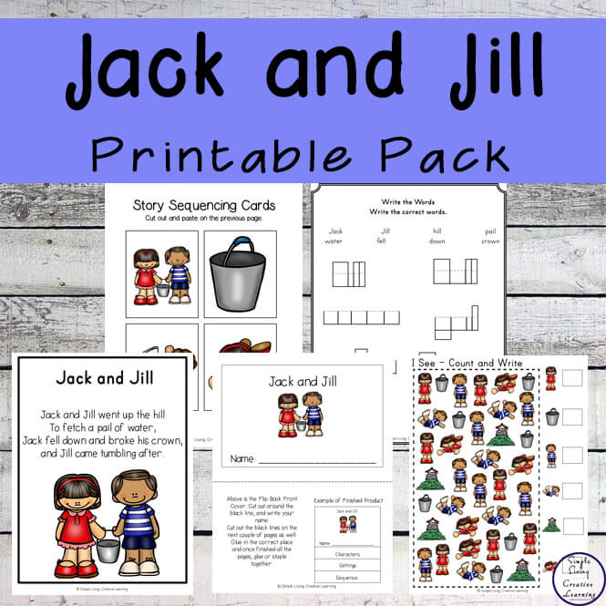 Jack and Jill is a fun nursery rhyme for kids to learn. This printable pack goes great alongside this rhyme.