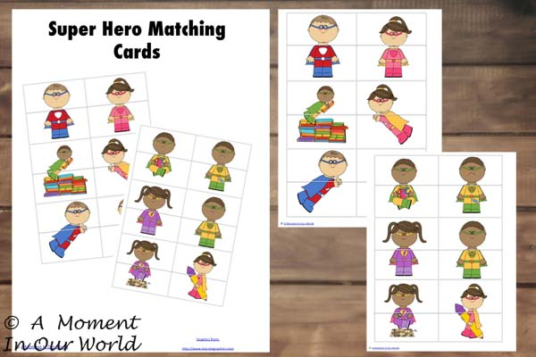 {FREE} Printable Super Hero Matching Cards
