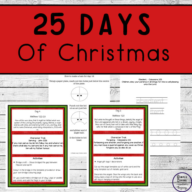 Enjoy reading, memorising Bible verse, learning about different chracter traits and completing fun activities with these 25 Days of Christmas printables.