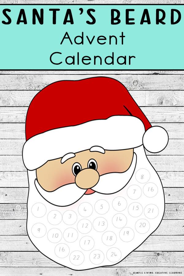 Printable Santa's Beard Advent Calendar