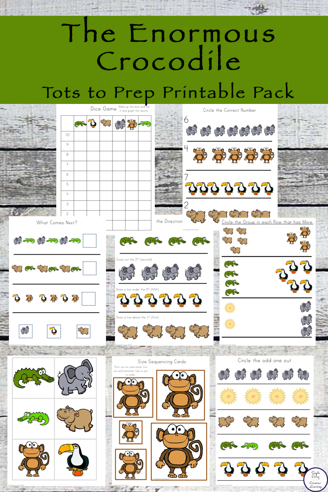 This Enormous Crocodile Tots to Prep Printable Pack goes well alongside the funny book by Mr Dahl.