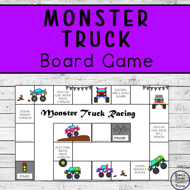 Do you have kids that love the monster trucks? They will love this Printable Monster Truck Board Game that is awesome and fun to play!