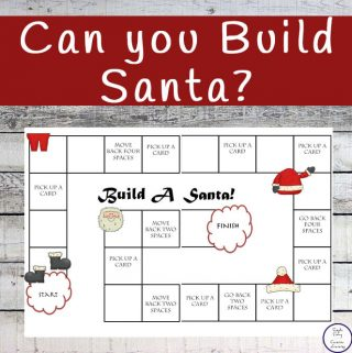 A fun printable board game in which the first person to build a complete Santa wins.