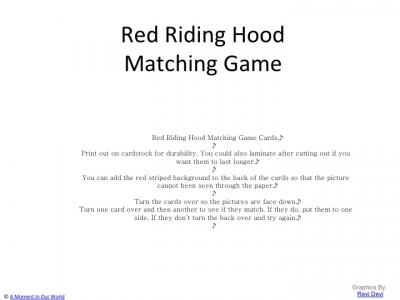 {FREE} Printable Red Riding Hood Matching Game Cards