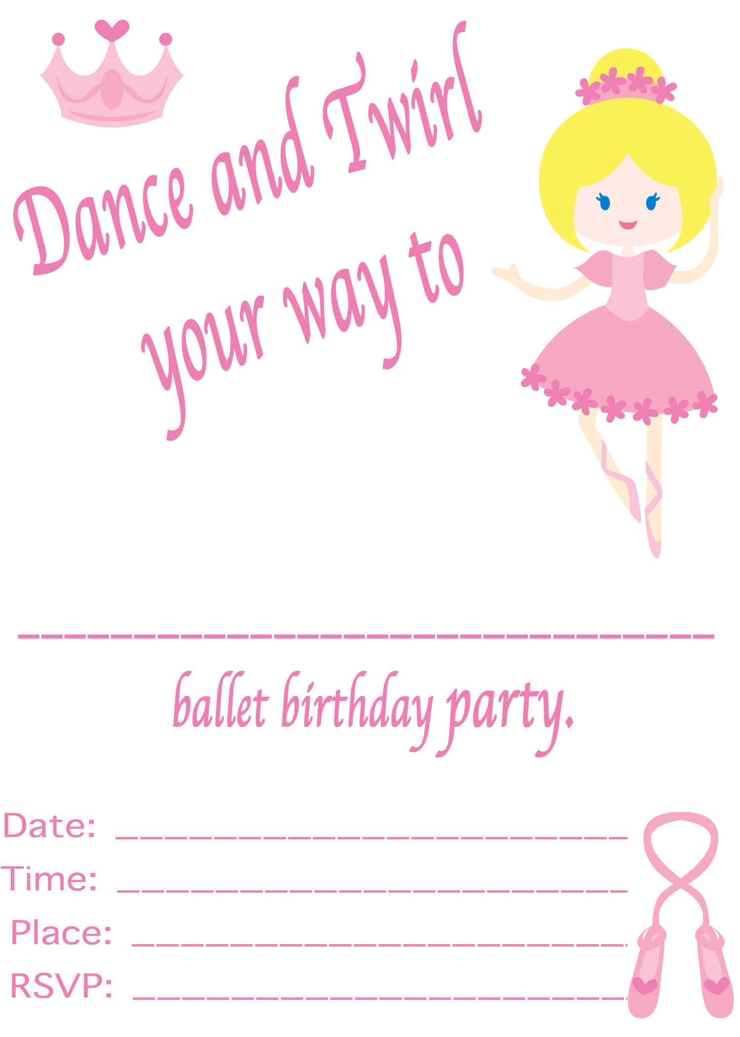 Ballet Party Invitation - Simple Living. Creative Learning