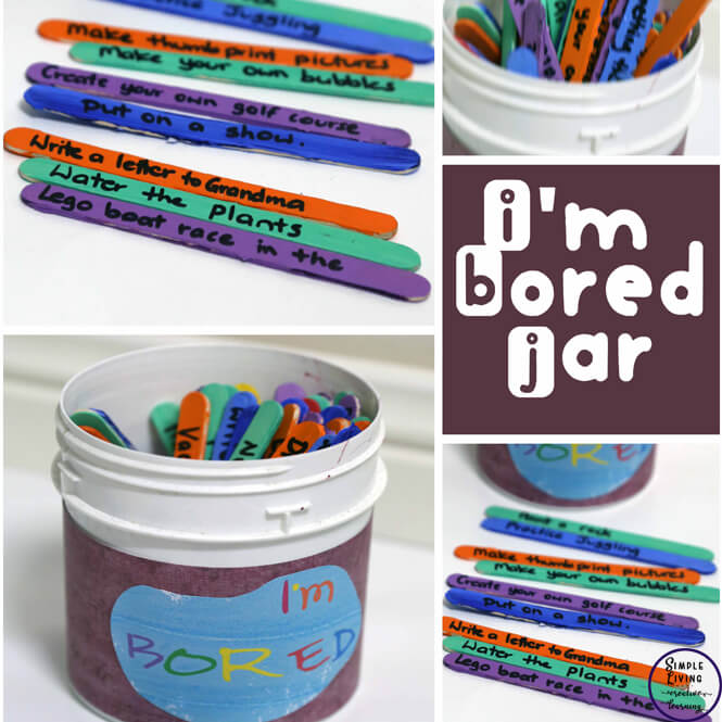 A great way to keep the kids occupied these holidays. They can create their own I'm Bored Jar to use when they can't think of something to do.