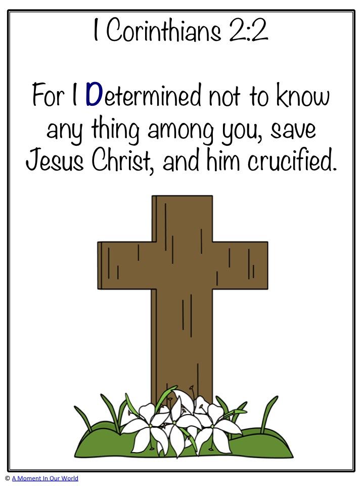 Monday Memory Bible Verse 1 Corinthians 2:2