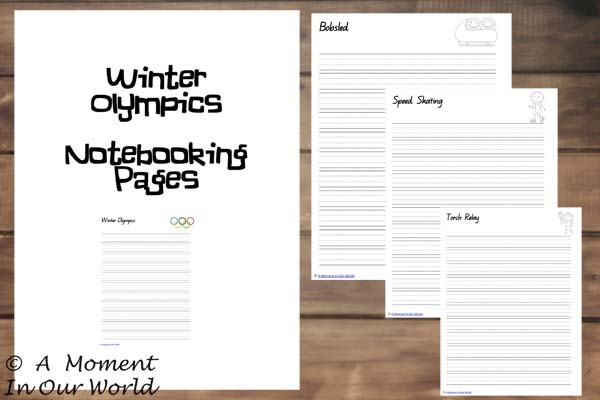 Winter Olympics Notebooking Pages