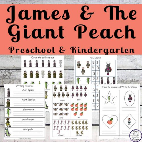 James and the Giant Peach is a stupendous book by Roald Dahl, that kids will love to read or have read to them. To extend the learning, I have created a James and the Giant Peach printable pack for young children.