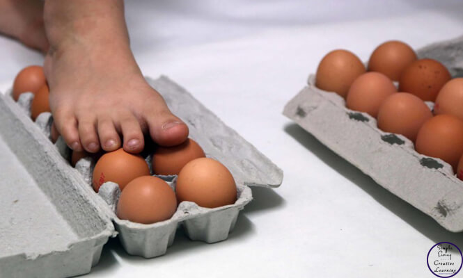 Walking on eggs is such a fun experiment for kids to try.