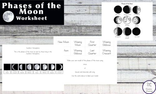 These worksheets are a great way for kids to learn the phases of the moon.