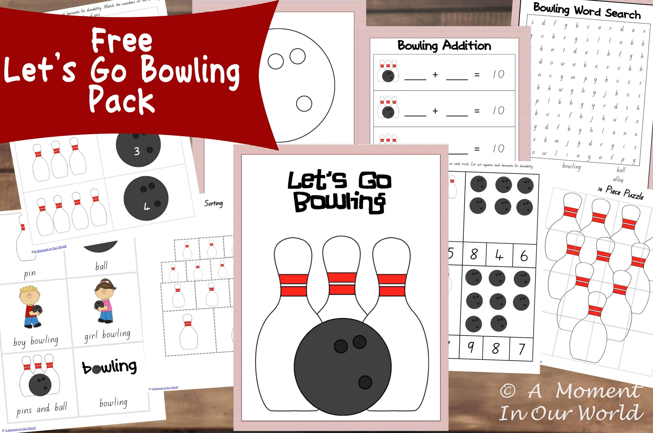 13 Days of Learning Printables: Let's go Bowling