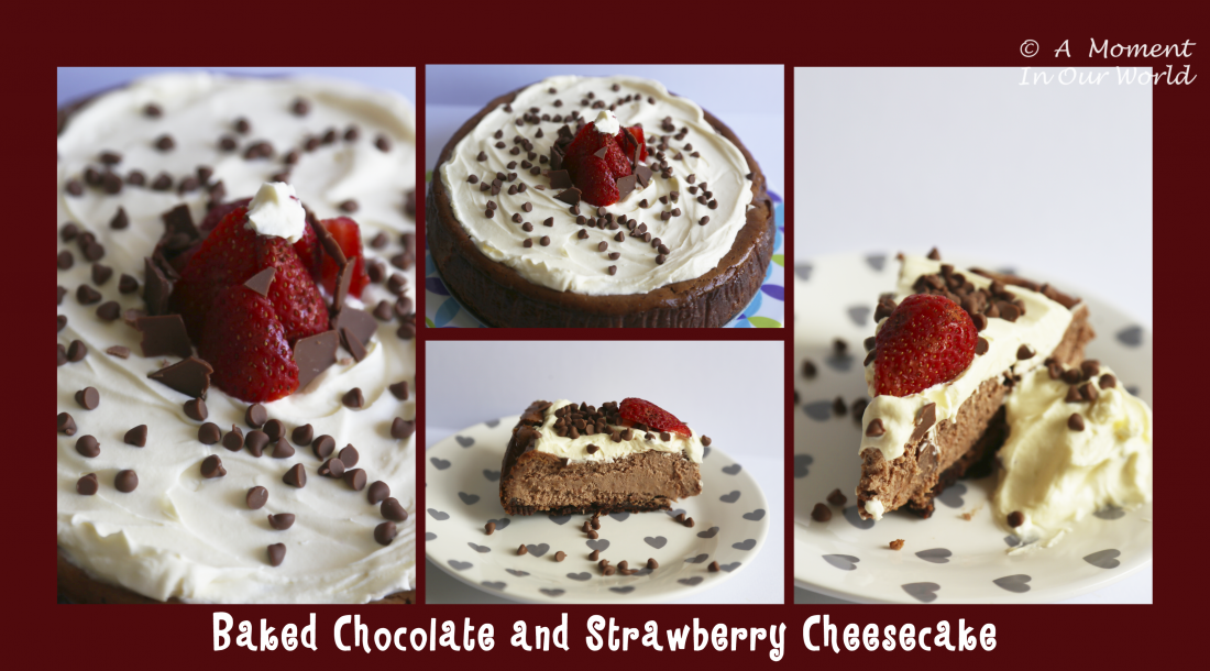 baked chocolate strawberry cheesecake