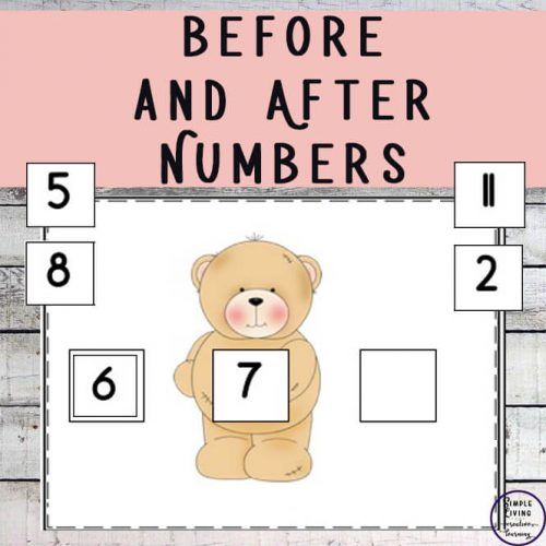 This Before and After numbers printable pack will help children learn what numbers come before and after a certain number.