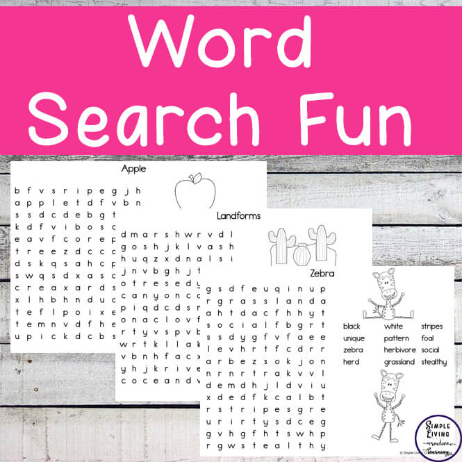 Each of these 26 word searches have a different theme for children to learn about as they search for the words.
