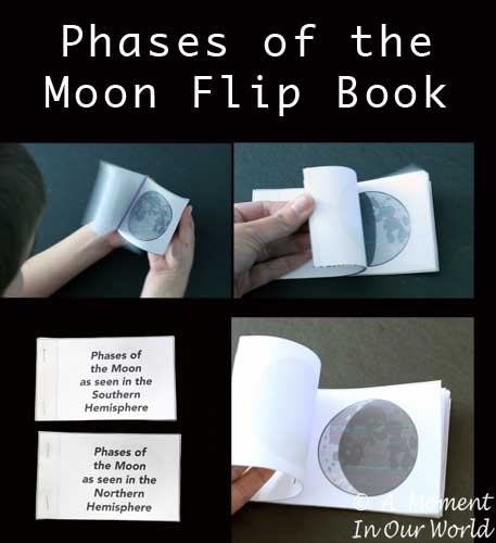 This Phases of the Moon Flip book is a fun way to see all the different phases the moon goes through.