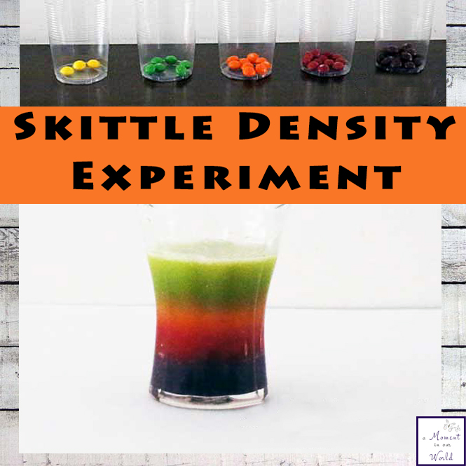 This fun Skittle Density Experiment was a great way to show the boys how different the density of objects can be.