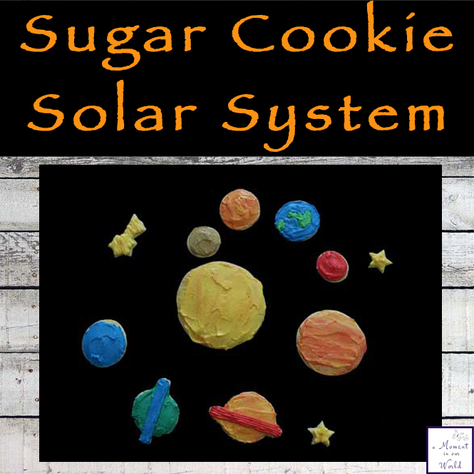 We have been learning about the Solar System and since the boys love to cook, I thought it would be fun for them to help make some a sugar cookie solar system.