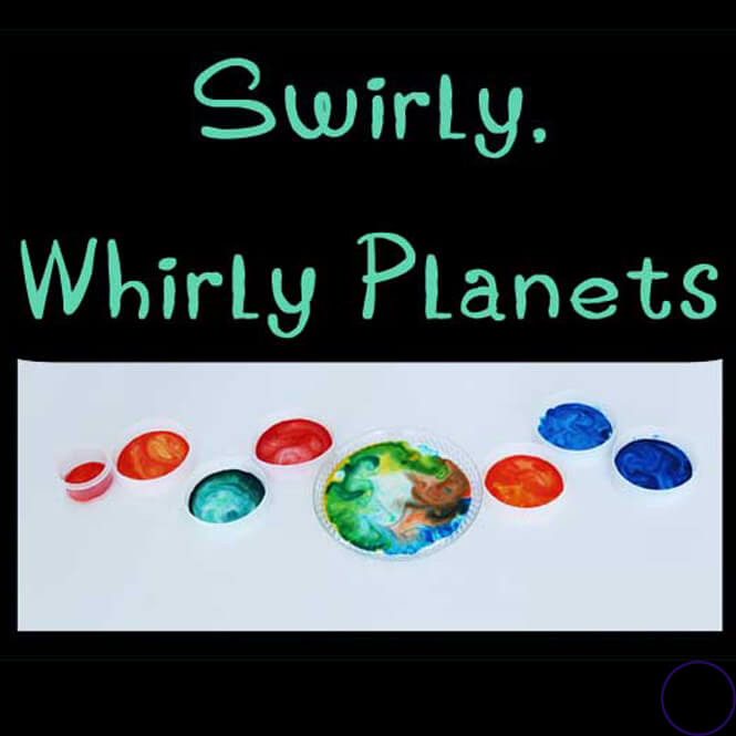 Make these fun Swirly, Whirly Planets with milk, detergent, food colouring and cotton buds. This fun experiment goes great as part of a Space Study.