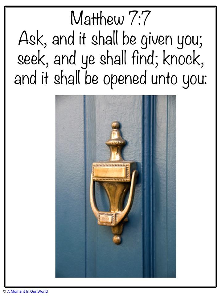 Monday Memory Verse: Matthew 7:7
