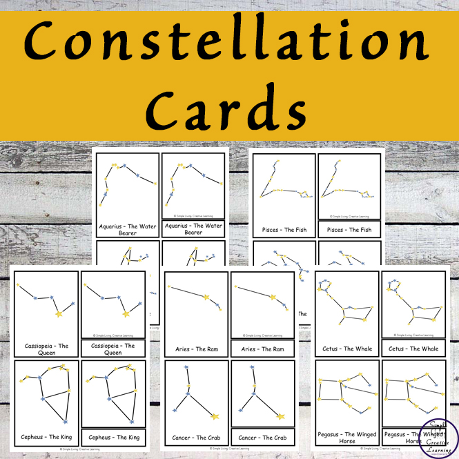 These constellation cards are a great way to introduce many of the constellations to your child.