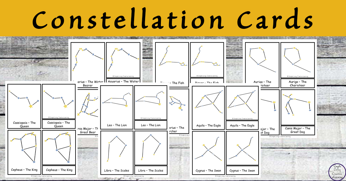 photo relating to Constellation Printable identify Absolutely free Printable Constellation Playing cards - Uncomplicated Residing