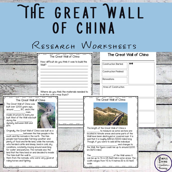 There is lots of learn about the Great Wall of China, and with these research worksheets, learning is limited to your imagination.