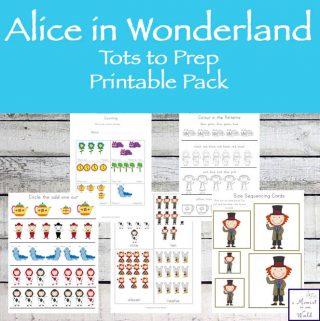 Alice in Wonderland Tots to Prep Printable Pack