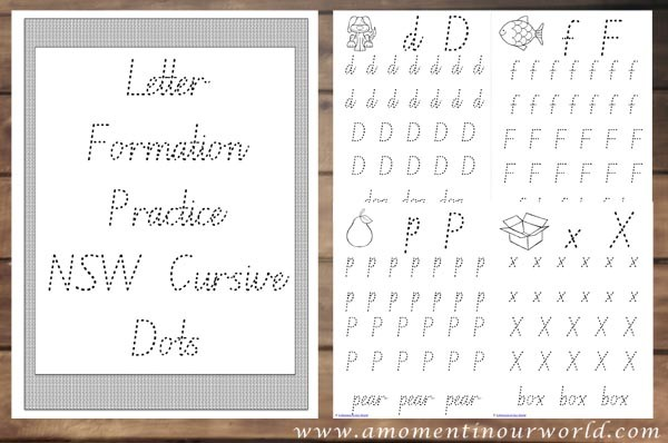 Letter Formation Practice NSW Cursive Dots