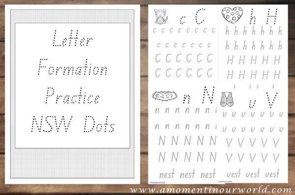 Letter Formation Practice NSW Dots